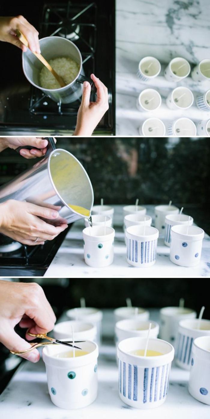 comment faire des bougies, faire fondre cire pour bougie au bain marie, creation bougie parfumée et colorée facile