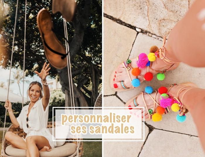 décorer ses chaussures d'été avec pompons multicolore, modèle sandales bohème avec pompons et glands