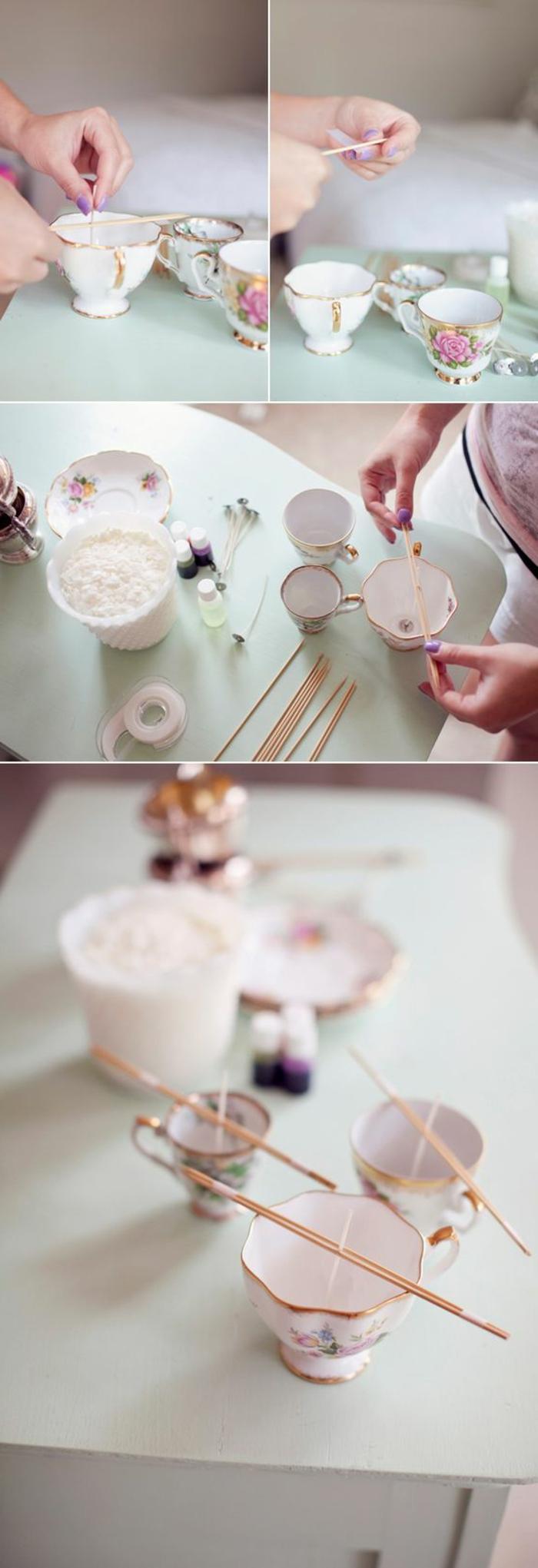 diy bougie facile à fabriquer, tutoriel pour apprendre à faire une bougie dans une tasse de thé, faire fondre une cire