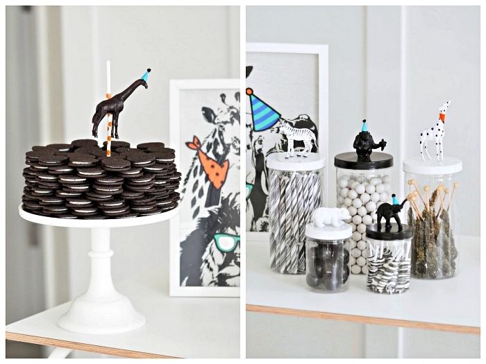 buffet gourmand sur le thème des animaux de la jungle, candy bar d'anniversaire 1 an en noir et blanc, deco anniversaire enfant minimaliste