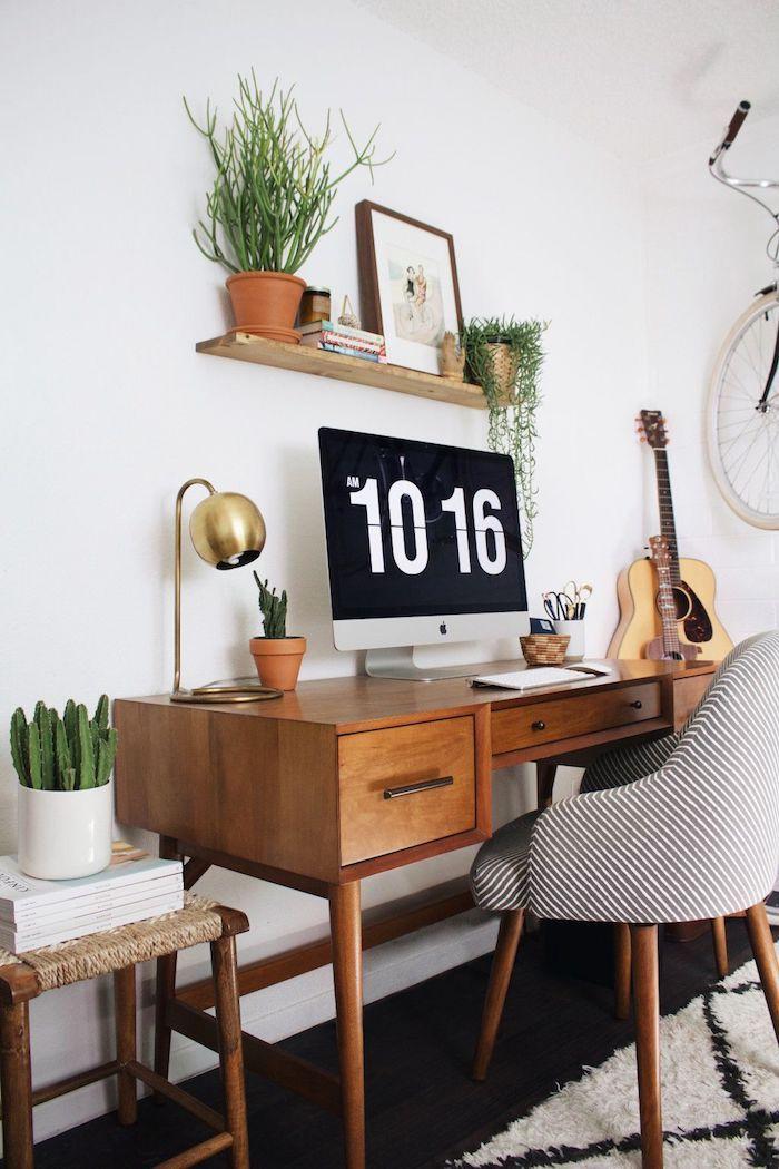 Idée aménagement bureau, photo bureau, comment organiser son bureau, la meme chambre scandinave, guitare sur le mur