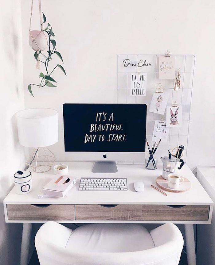 La vie est belle déco stylé blanche et bois, ikea rangement bureau, coin bureau moderne déco