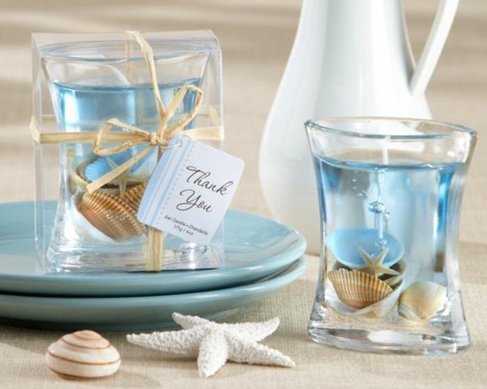 diy bougie marine, que faire avec coquillage, modèle de bougie gel avec coquillage et petite étoile de mer fait maison