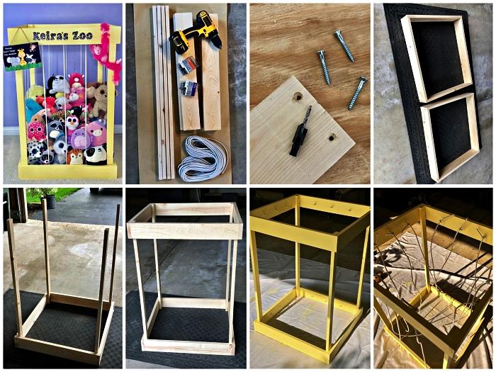construire une cage à peluches en bois pour la chambre d'enfant, coffre à jouets pour ranger les peluches