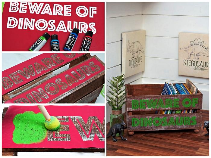 caisse de rangement récup décorée au pochoir personnalisé pour y ranger des jouets et des livres d'enfnants