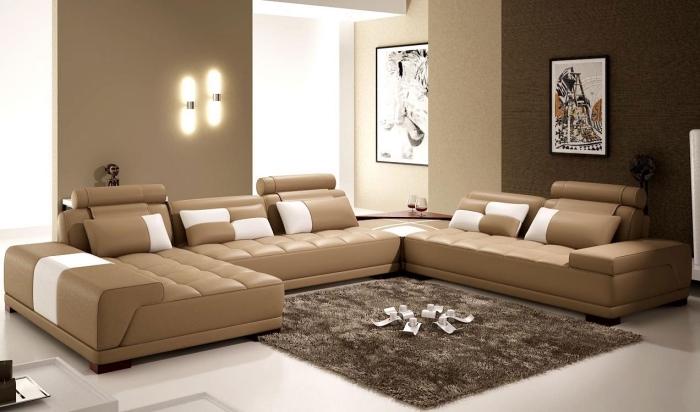 idée peinture a effet sablé de nuances beige et marron dans un salon décoré avec objets à motifs ethniques et couleurs neutres