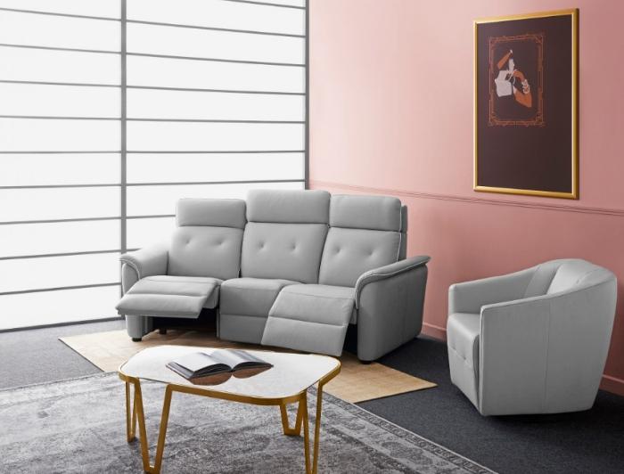 Canapé de relaxation 3 places avec repose pieds inclinable en cuir gris de luxe Crozatier