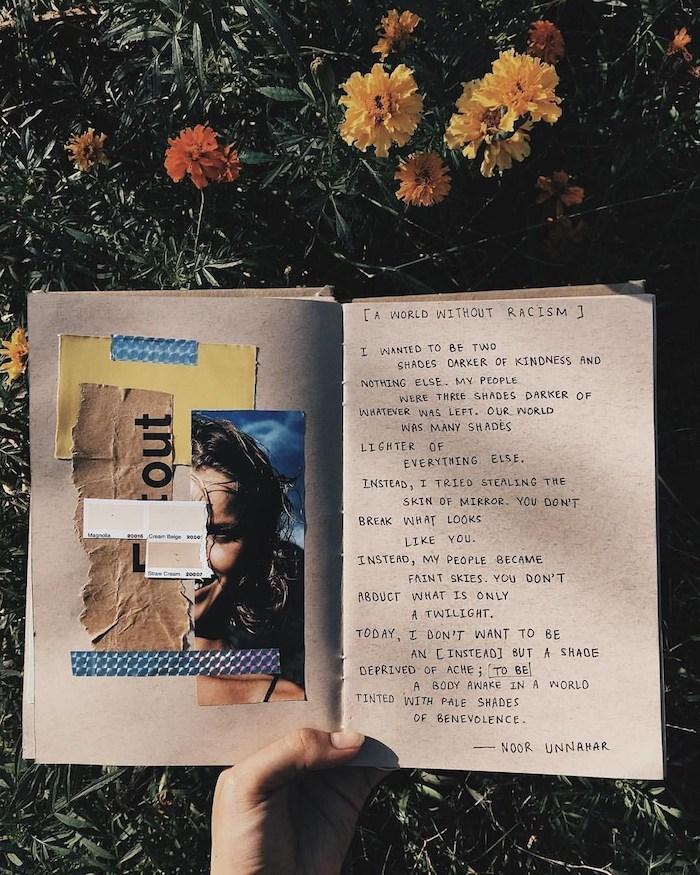 Poésie sur une page et coupures collage de photos sur l'autre, pelouse et fleurs photo de carnet de voyage, album scrapbooking ado