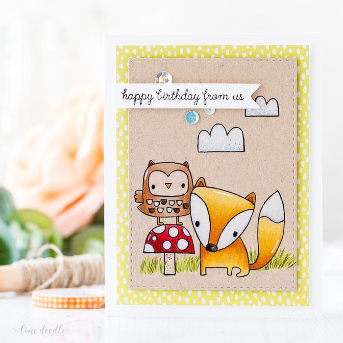 Adorable carte de voeux, dessin animaux anniversaire, image joyeux anniversaire, belle image coloré