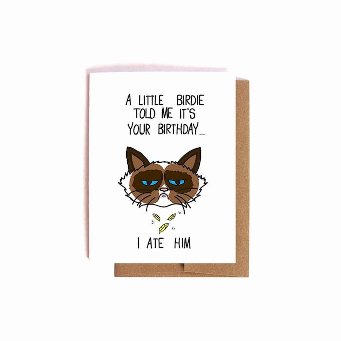 Grumby cat coloriage anniversaire, dessin gateau anniversaire, petit oiseau que le chat à mangé