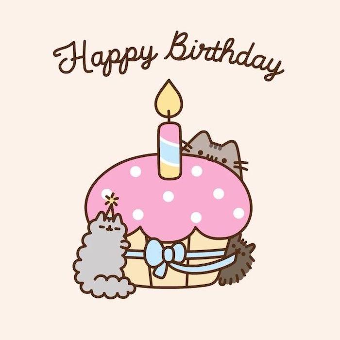 Chaton pusheen et deux petit chatons, images anniversaire gratuites a telecharger, image anniversaire humour