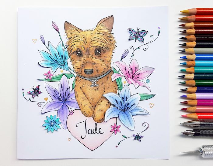 Petit chien image joyeux anniversaire mignonne, dessin coeur et fleurs, offrir un dessin pour anniversaire
