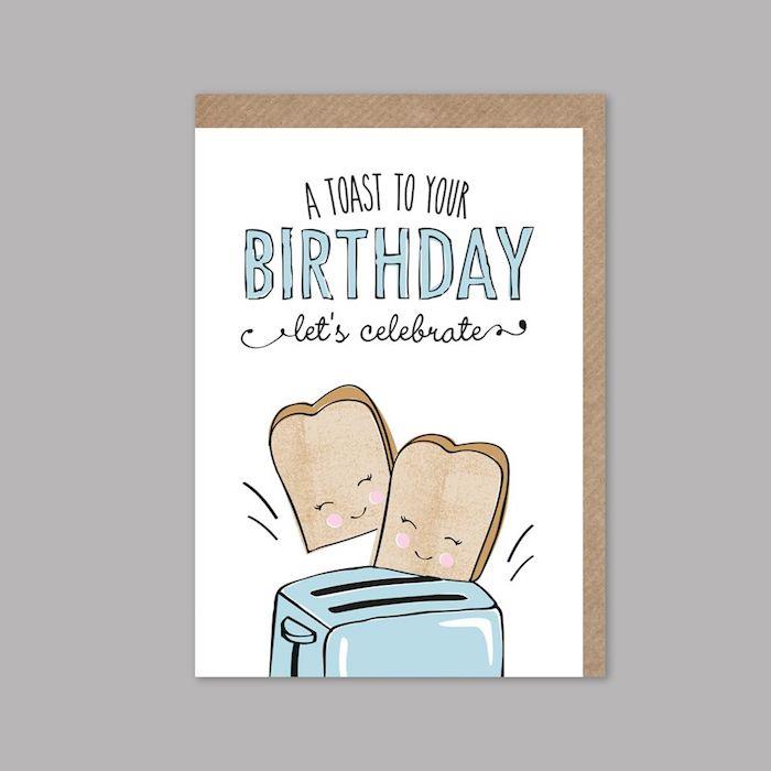 Toast sandwich dessin joyeux anniversaire, carte d'anniversaire beau design, adorable idée de dessin à copier