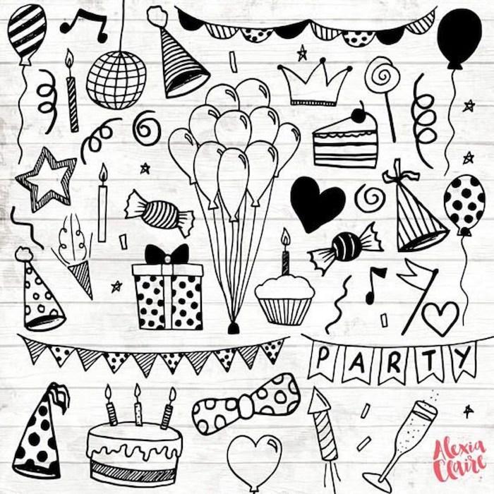 Doodle dessin noir et blanc, dessin d'anniversaire, carte joyeux anniversaire fille dans le cahier d'esquises