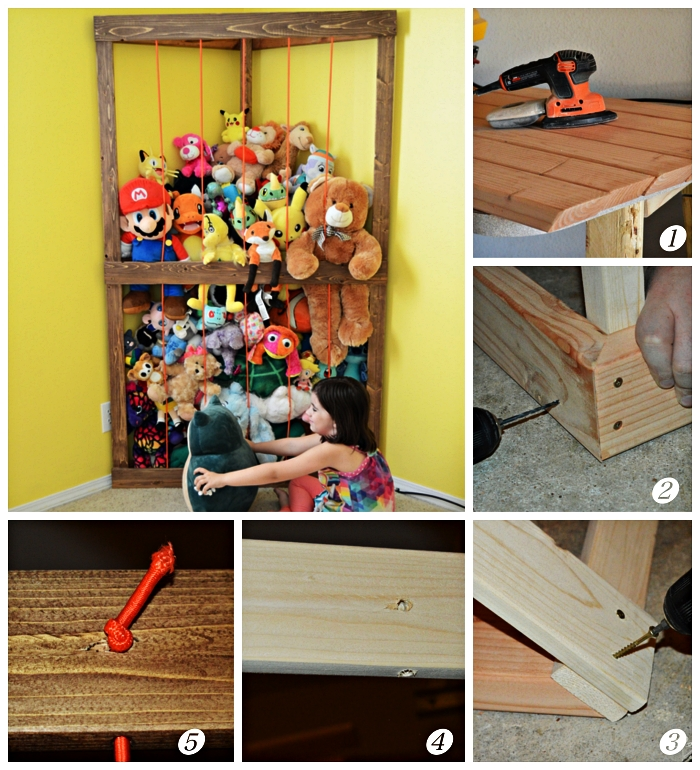 tuto pour construire une cage à peluches d'angle dans la chambre d'enfant, zoo à peluches à faire soi-même