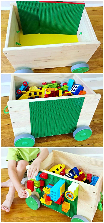 petit meuble de rangement ikea sur roulettes avec plaque de lego verte collée sur l'une des côtés, astuces de rangement pour les éléments lego ou duplo