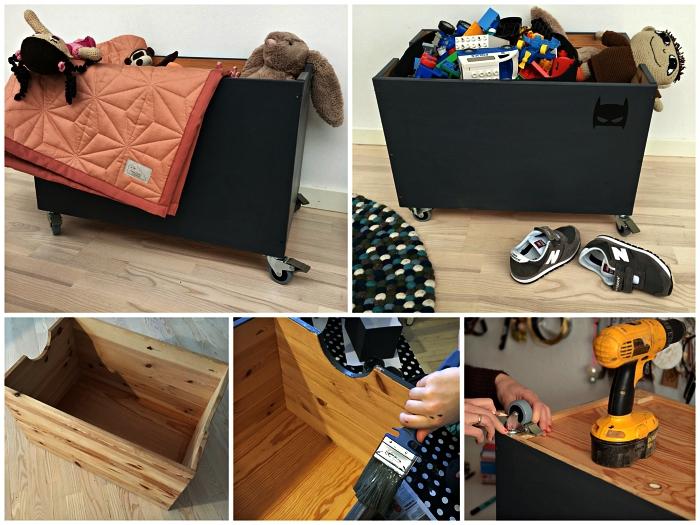coffre de rangement bois sur roulettes peinte en gris pour la chambre d'enfant, caisse de rangement ardoise à personnaliser