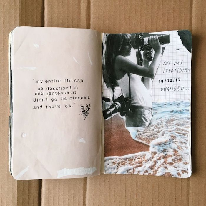 Idée inspiration scrapbooking pas cher, photo album scrapbooking voyage, coupure femme avec appareils de photo et la mer