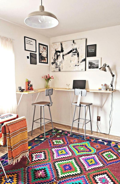 Tapis coloré adorable idée deco bureau, ikea rangement bureau, aménagement bureau