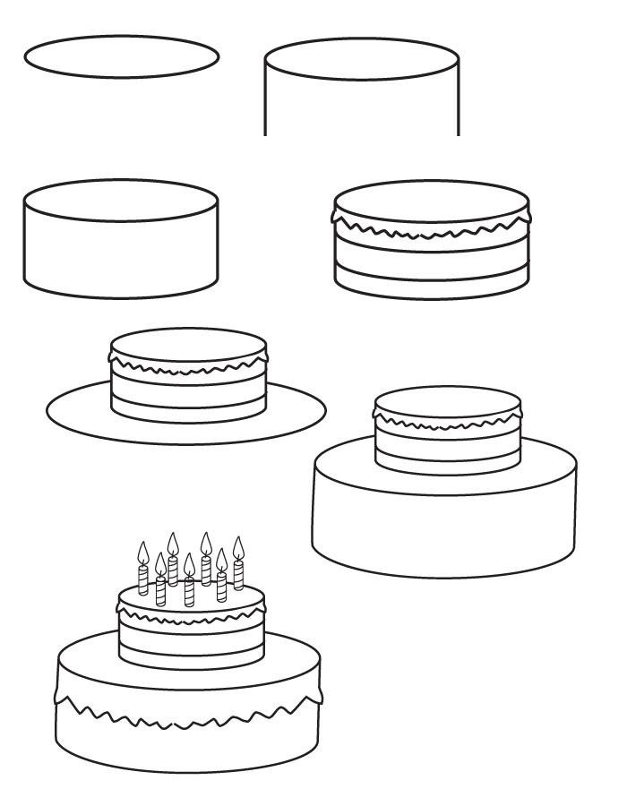 Gâteau à couches avec bougies, pas à pas dessin gateau, dessin joyeux anniversaire à faire soi-même