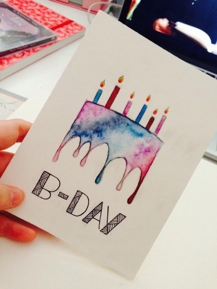 B-day font à faire soi meme, image anniversaire humour, dessin joyeux anniversaire gateeau coloré aquarelle