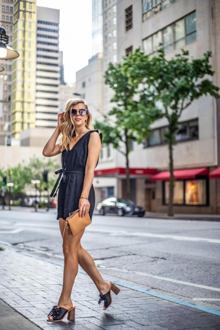 Gris foncé combinaison femme soirée, combinaison pantalon femme chic, idée comment s'habiller pour se sentir confortable l'été