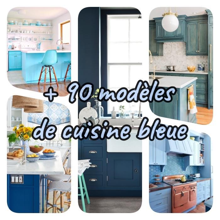 quelle couleur pour une cuisine, modeles de cuisine en diverses teintes de bleu en credence, peinture murale, meuble cuisine