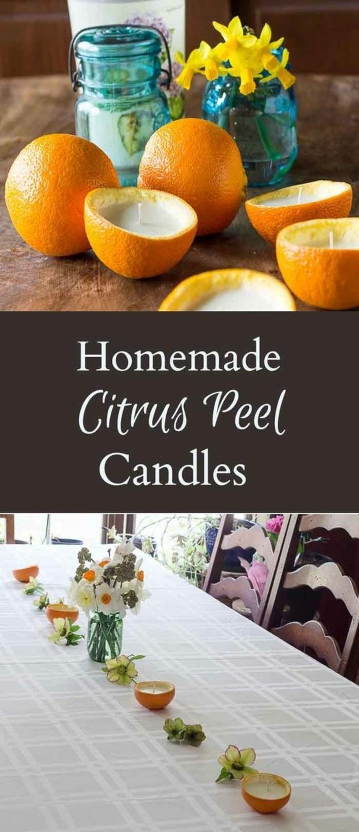 que faire avec zestes d'orange, exemple bougie diy avec zeste orange, fabriquer ses bougies avec cire bougie