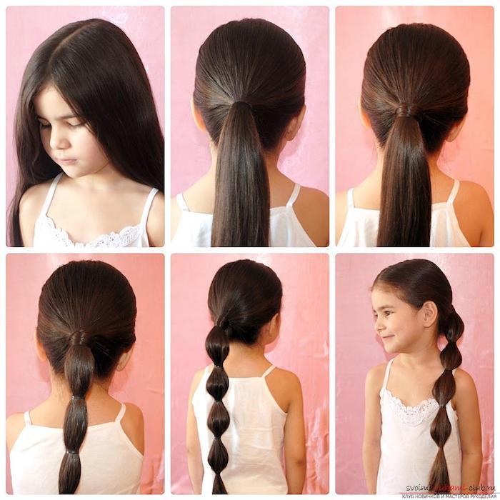 Longs cheveux brunes, faire une queue simili tresse, coiffure petite fille mariage, coiffure petite fille inspiration