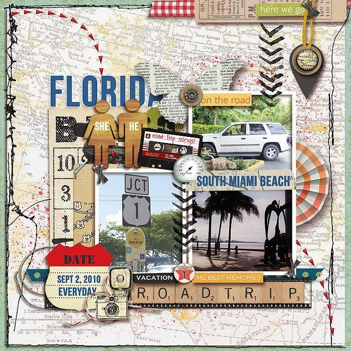 Florida vacances, idée organisation page livre scrapbooking, scrapbooking album de voyage photographies