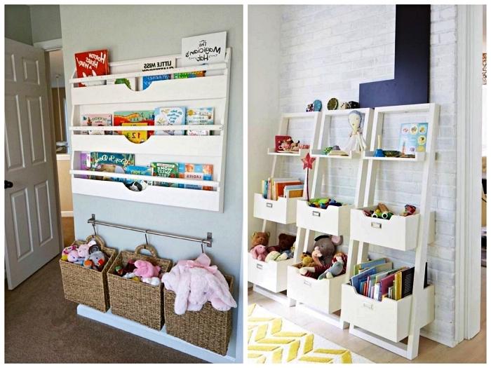 idées de rangements muraux pour jouets et livres d'enfant, étagères murales détournées en rangement pour jouets