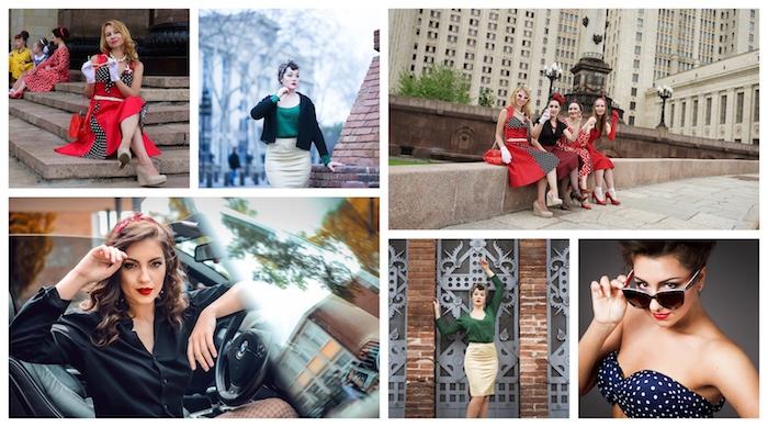 Collage femme tenue vintge, evjf tenue guinguette, vetement annee 50, robe pin up pour moi et mes amies