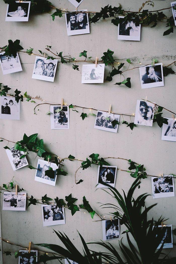 Décoration avec photos, guirlande verte avec photographies polaroid coin bureau, aménagement bureau, idée comment s'organiser bie