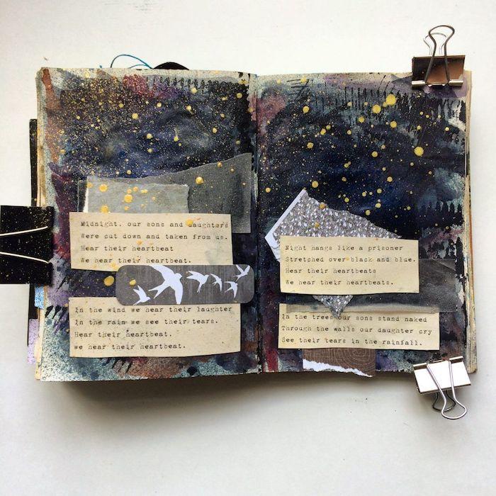 Originale idée loisir créatif, scrapbooking album, fabriquer un carnet scrapbook photos et citations à fond d'une peinture art, collages à créer