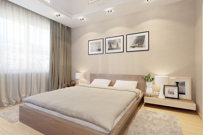 décoration chambre adulte en couleurs neutres, chambre à coucher moderne au plafond suspendu et murs de couleur beige