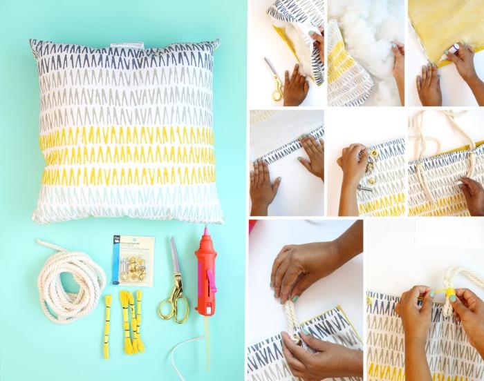 Faire un sac de coussin très simple, modèle de sac en tissu simple et cool, detacher l'oreillette et mettez des bretelles de corde