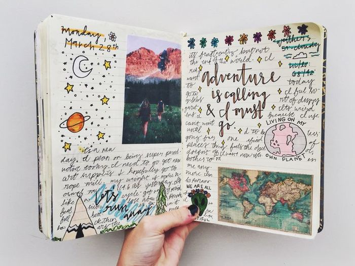 Carnet à transformer, journal intime et album photo diy, comment faire un carnet de voyage, décrire ses aventures, et décorer avec dessins et photos