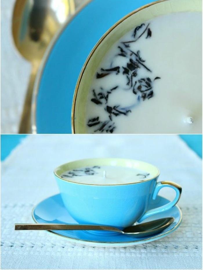 quel récipient résistant pour fabriquer ses bougies, bougie décorée avec brins dans une tasse thé en bleu et or