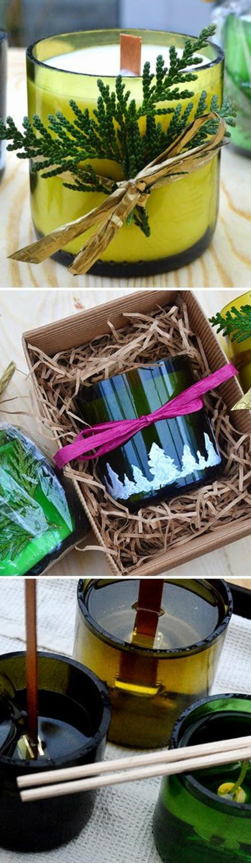 activité manuelle facile et rapide, faire un cadeau original, diy bougie avec décoration en brins, contenant résistant pour bougie