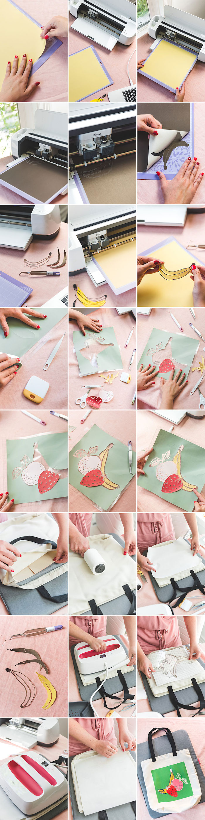 Comment travailler avec du cricut diy facile, modèle de sac en tissu a faire soi meme, faire un sticker en tissu pour mettre sur le sac