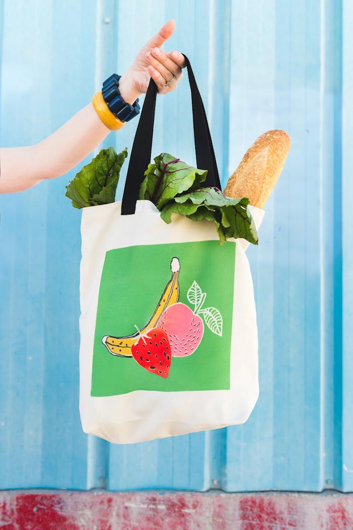 Sticker tissu fruits tuto sac à main, comment faire un sac en tissu soi meme, sac cabas , exemple pour faire un sac de course en tissu
