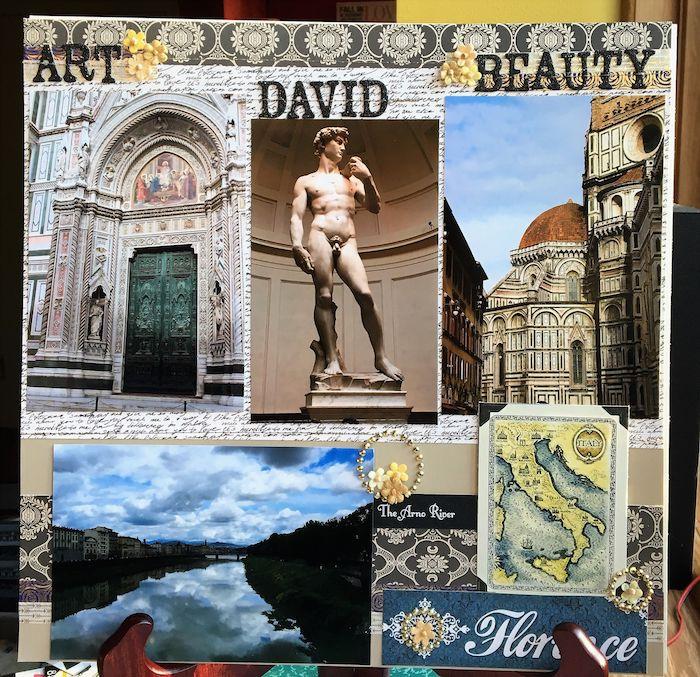 Comment faire un carnet de voyage, originale idée scrapbooking voyage, Florence vacances, page d'album scrapbooking