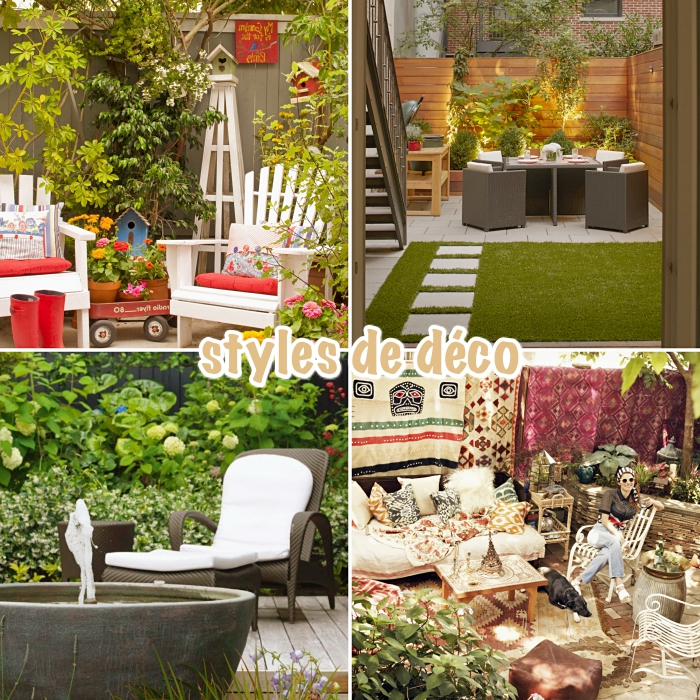 jardin paysager pour espace limité, modèle de chaise tressée noire avec housse blanche pour jardin, déco zen avec fontaine pour jardin