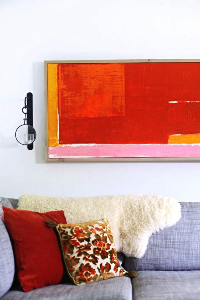 tableau contemporain représentant une juxtaposition de blocs de couleurs, art contemporain abstrait à faire soi même