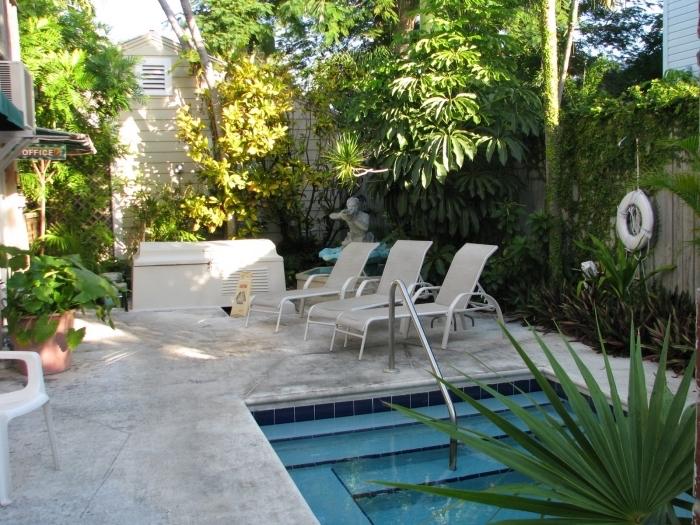 comment décorer une petite cour arrière avec petite piscine et terrasse bétonnée, idée aménagement piscine avec transats et fontaine