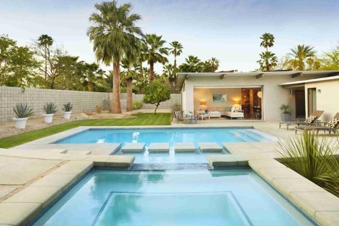 design extérieur moderne et minimaliste avec jardin zen et piscine, idée amenagement exterieur piscine et terrasse béton
