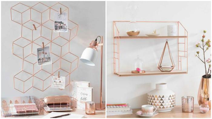 Rose doré déco originale, idée de décoration bureau etudiant, deco bureau, inspiration maison moderne