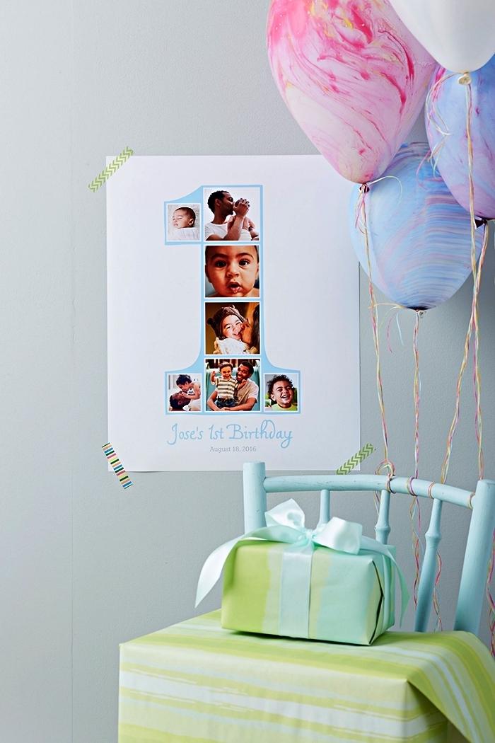 décoration anniversaire bébé 1 an à faire soi même, déco d'anniversaire 1 an avec collage photos en chiffre 1 à coller au mur et des ballons effet marbre