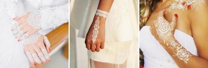 photo de henné en blanc pour mariage, idée dessin éphémère blanc sur les doigts, tatouage dentelle blanche