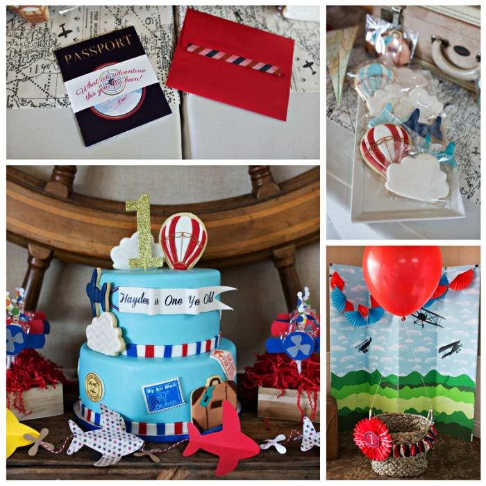 deco table anniversaire sur le thème des aventures et du voyage, gâteau d'anniversaire à thème voyage au glaçage bleu et au décor en pâte à sucre